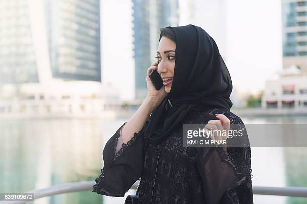 Businesswoman calling in Middle East