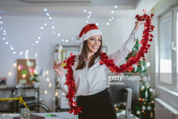 Businesswoman celebrating New Year