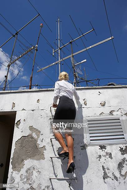 Businesswoman climbing up ladder on to roof
