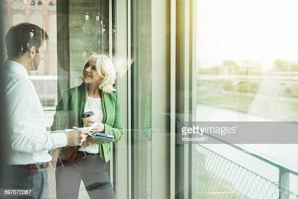 Businesswoman communicating with a business partner