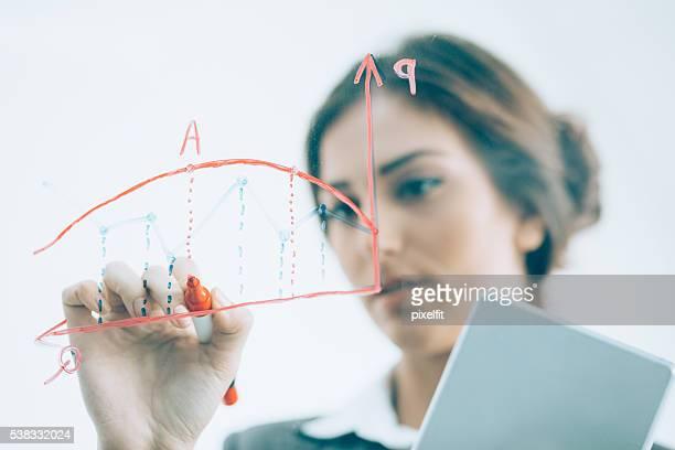 Geschäftsfrau zeichnen ein Diagramm auf transparente board