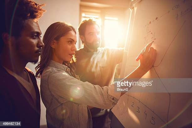 Geschäftsfrau Zeichnung ein Diagramm zusammen mit ihren zwei männliche Kollegen.