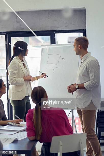 Businesswoman drawing on flipchart
