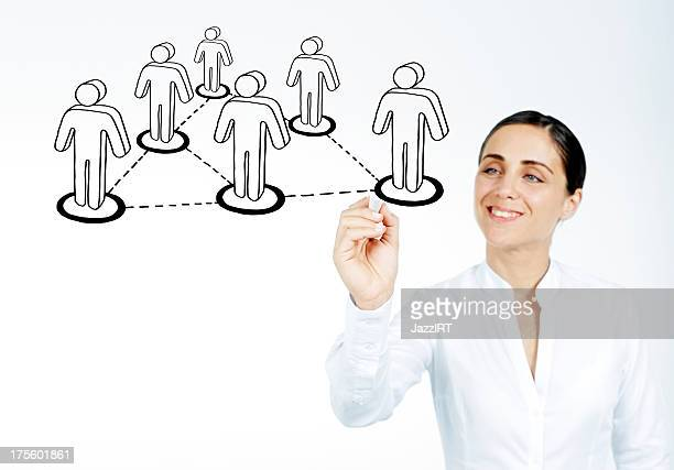 Businesswoman drawing social network