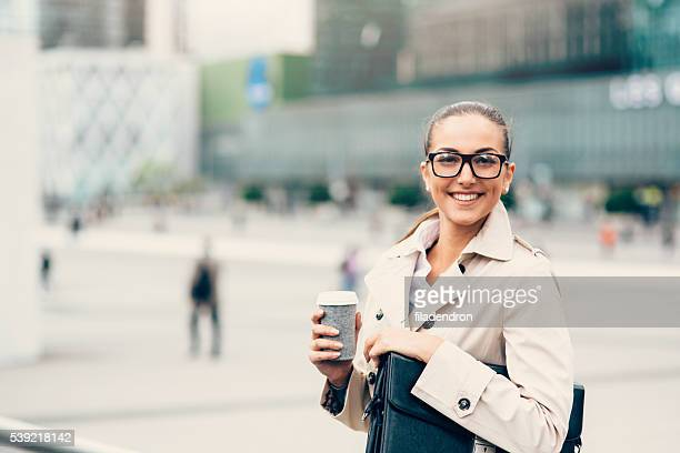 Businesswoman drinking coffee