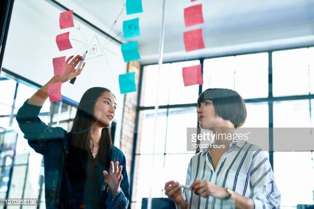 businesswoman explaining diagram to female coworker - ontwikkeling stockfoto's en -beelden