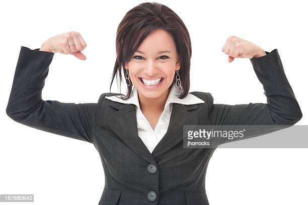 Businesswoman Flexing Muscles