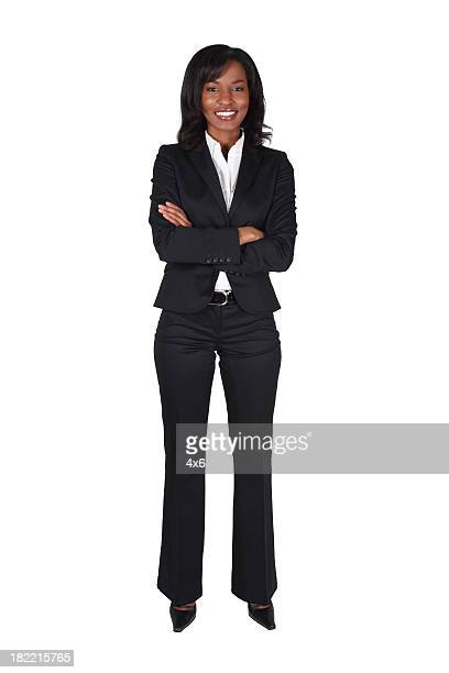 Businesswoman folding arms