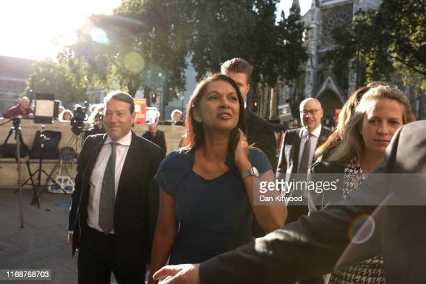 Businesswoman Gina Miller arrives at the Supreme Court ahead of a hearing on the legality of proroguing Parliament on September 17 2019 in London...