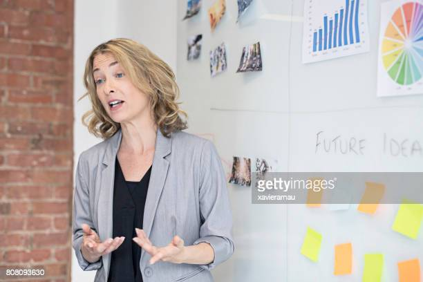 Businesswoman giving presentation in board room