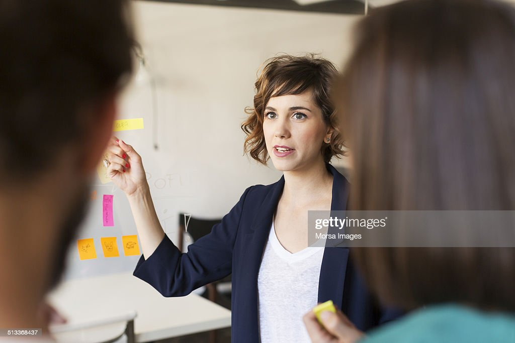 Businesswoman explaining presentation to colleagues in office