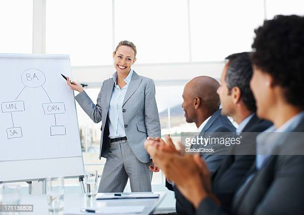 Businesswoman giving presentation to her colleagues