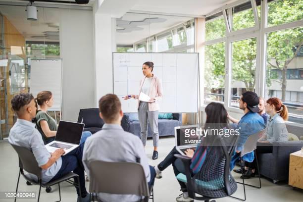 Businesswoman giving presentation to team