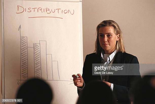 Businesswoman giving presentation with bar graph on flipchart