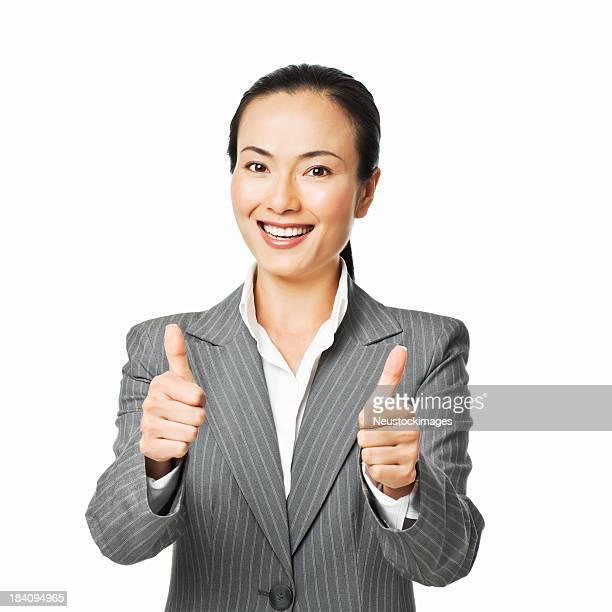 Mulher de negócios com os dois polegares para cima-isolado