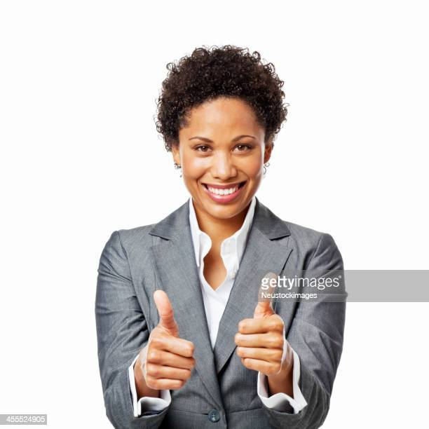 Businesswoman Giving Two Thumbs Up - Isolated