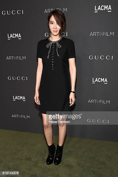 Businesswoman Guest attends the 2016 LACMA Art Film Gala honoring Robert Irwin and Kathryn Bigelow presented by Gucci at LACMA on October 29 2016 in...