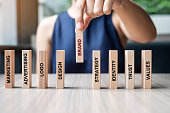 Businesswoman hand placing or pulling wooden Dominoes with BRAND text. and Marketing, Advertising, Logo, Design, Strategy, Identity, Trust and Values. Product development concept
