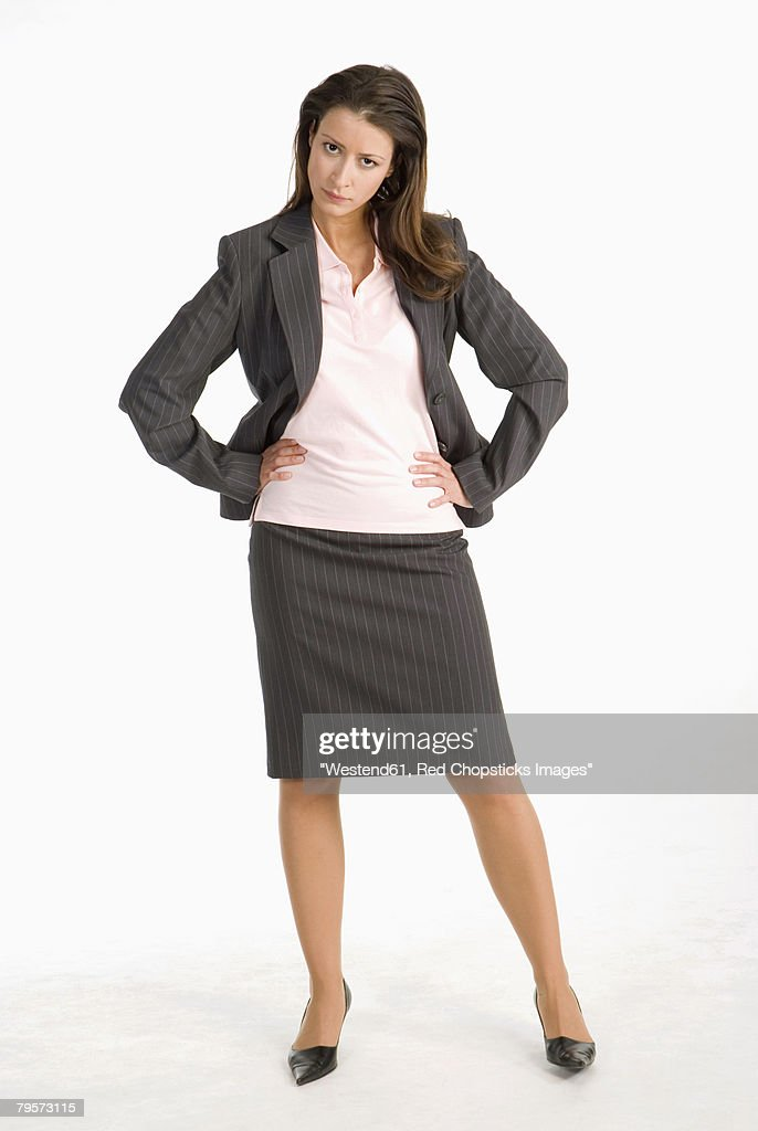 'Businesswoman, hands on chin' : Stock-Foto