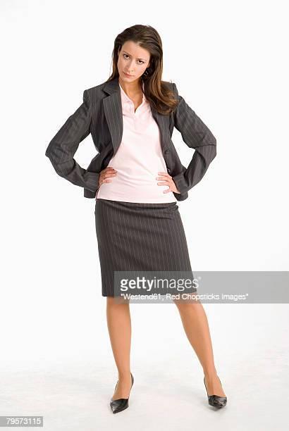 'Businesswoman, hands on chin'
