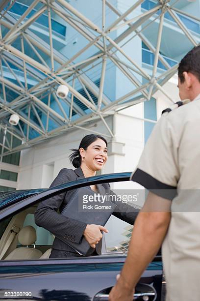 Businesswoman Having Car Parked by Valet