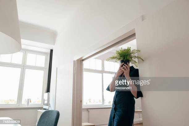Businesswoman hiding behind plant in office