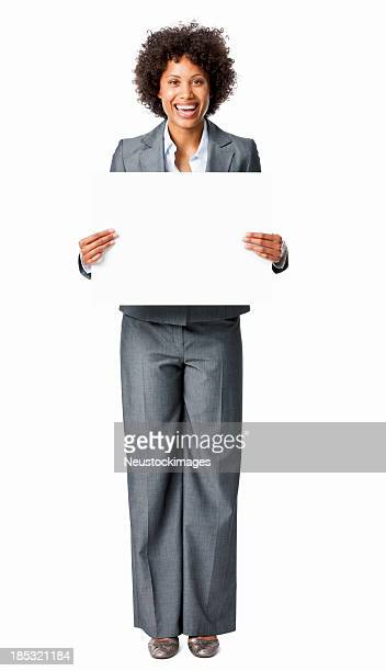 businesswoman holding a blank sign - isolated - blank sign stock photos and pictures
