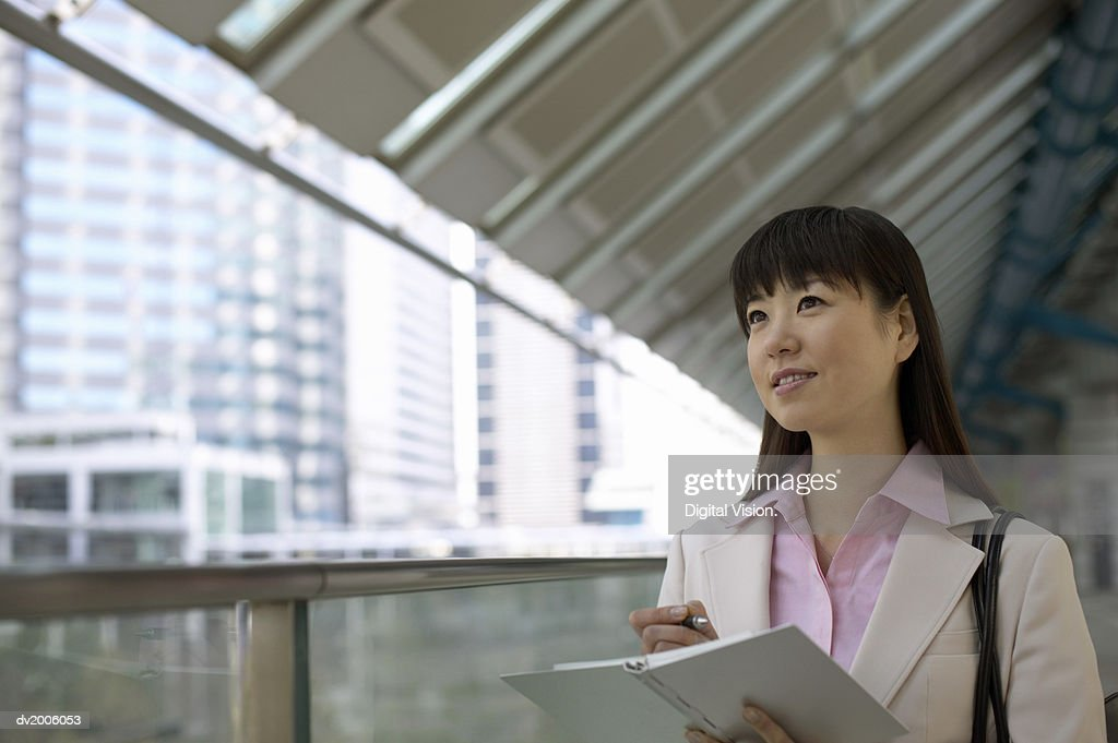 Businesswoman Holding a Diary : Stock Photo