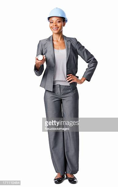 Businesswoman Holding Construction Plans - Isolated
