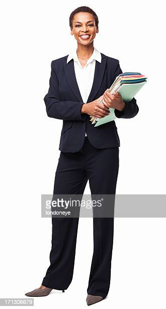 Businesswoman Holding Office Documents - Isolated