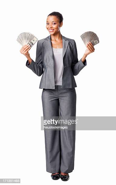 Businesswoman Holding Out Money - Isolated