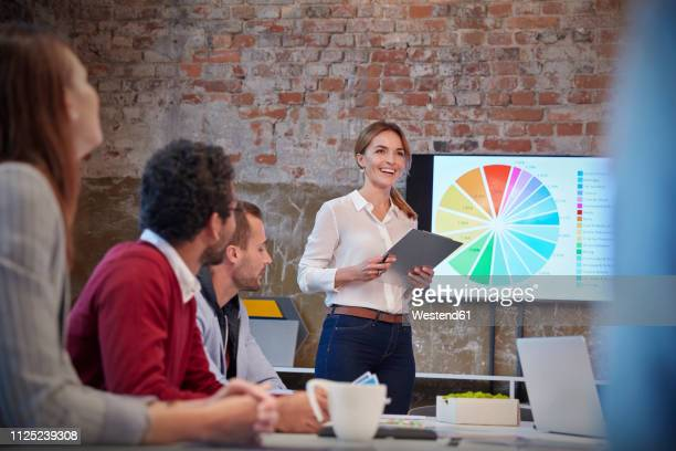businesswoman holding presentation at a meeting with colleagues in the office - pie chart stock pictures, royalty-free photos & images