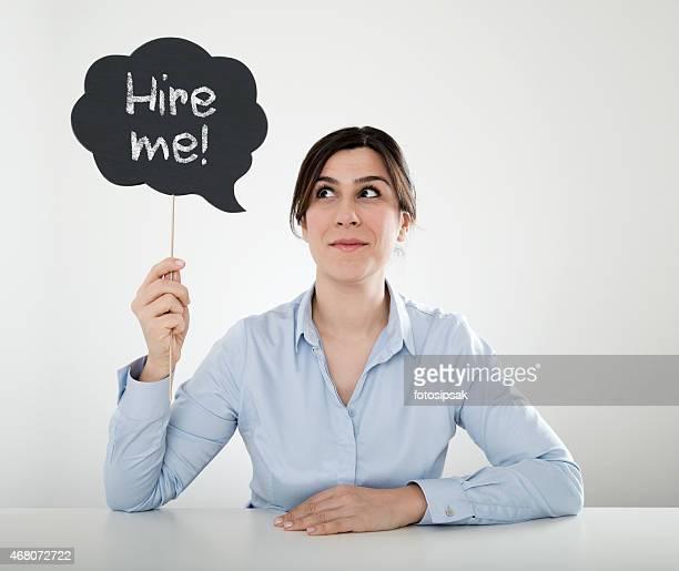 Geschäftsfrau holding Sprechblase -