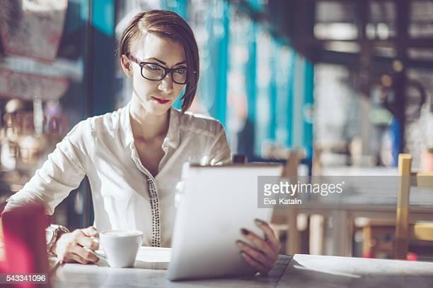 Businesswoman in a café