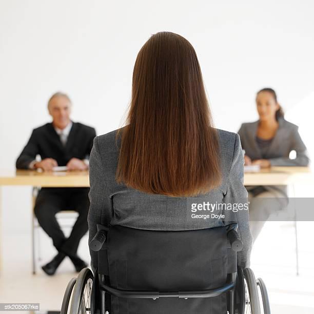 businesswoman in a wheelchair having an interview