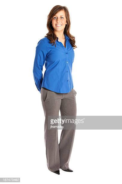 businesswoman in blue - overhemd stockfoto's en -beelden