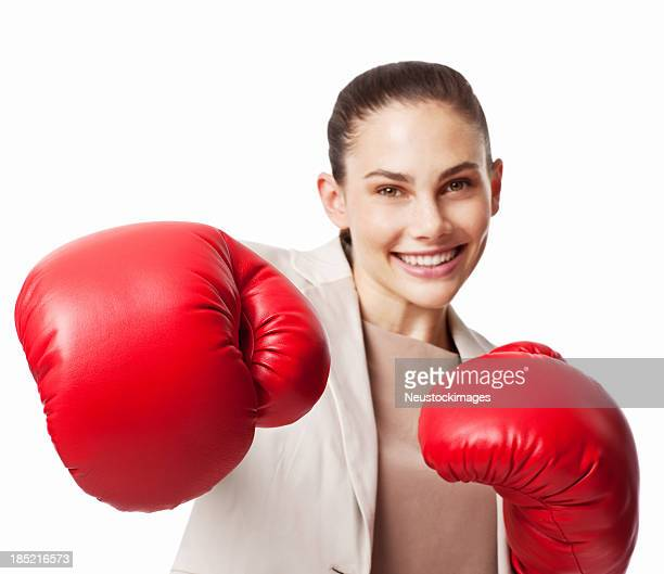 Businesswoman in Boxing Gloves - Isolated