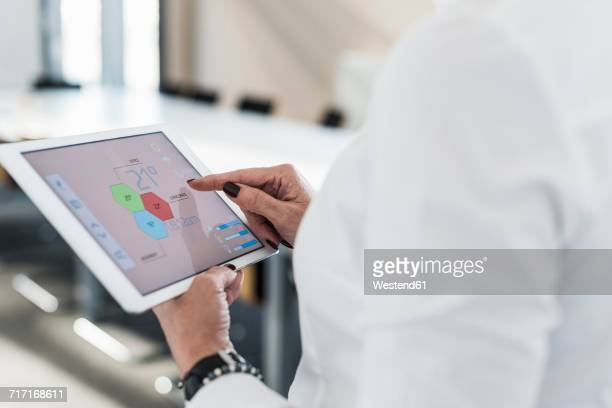 Businesswoman in conference room using tablet with weather data