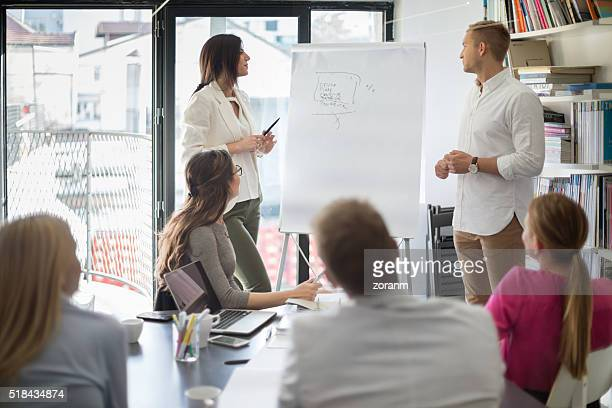 Businesswoman in front of flipchart