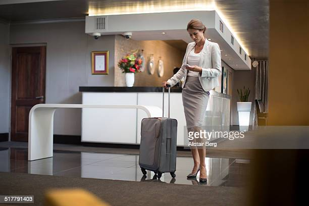 Businesswoman in hotel lobby