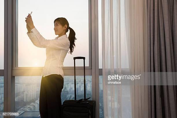 businesswoman in hotel