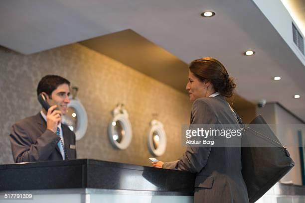 Businesswoman in hotel reception