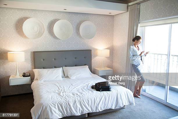 Businesswoman in hotel room