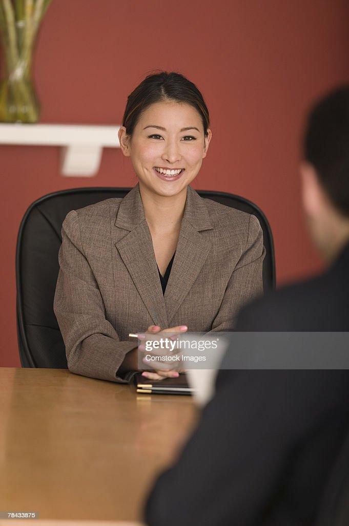 Businesswoman in interview : Stockfoto
