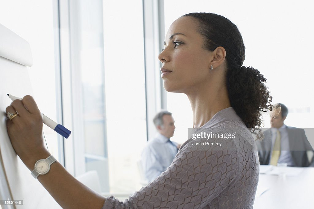 Businesswoman in meeting, close up, side view : Stock-Foto