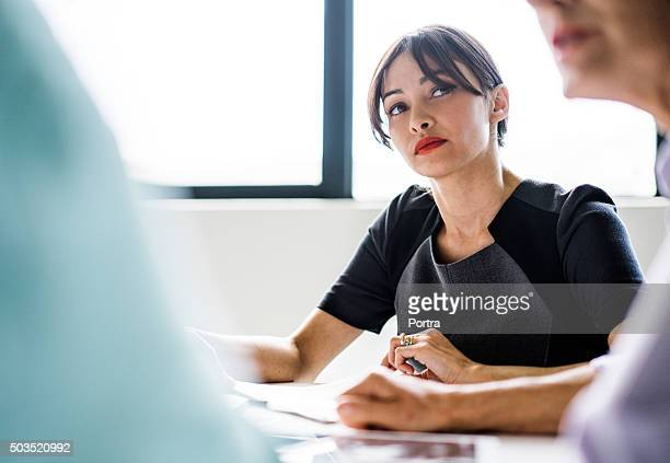 Businesswoman in meeting with colleague