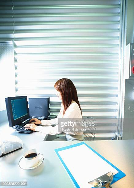 Businesswoman in office using computer, side view