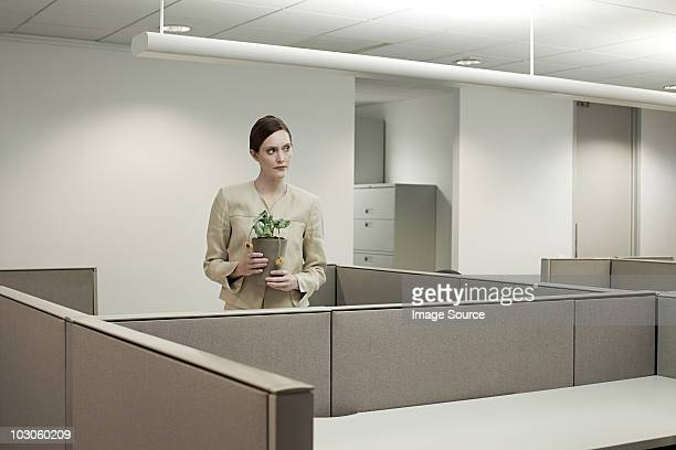 Businesswoman in office with pot plant