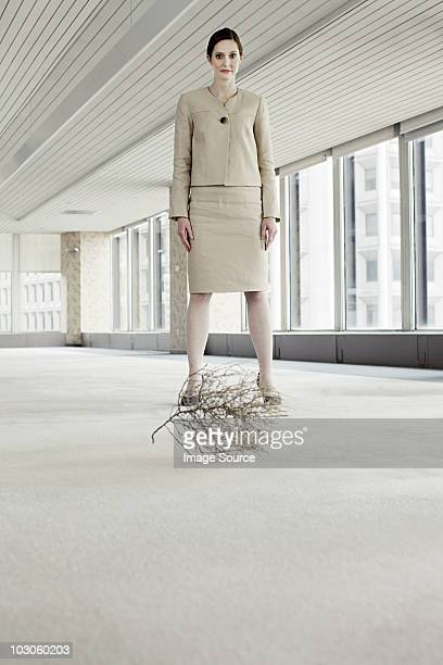businesswoman in office with tumbleweed - tumbleweed stock photos and pictures