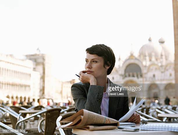 businesswoman in outdoor cafe - national landmark stock pictures, royalty-free photos & images